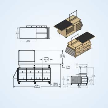 Retail Case Counter Drawings for Shopping Mall