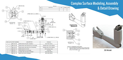Complex Surface Modeling, Assembly & Detail Drawing
